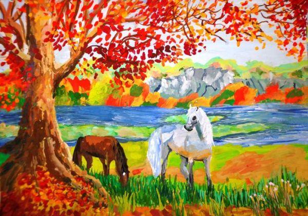 Картинки золотая осень для детей нарисованные цветные ...