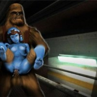 As a trained jedi Aayla Secura can easily take in her pussy even wookie's cock!