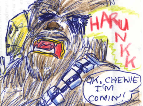 """Chewbacca calls out to Han to hurry up """"harunkk"""" - detail of this Star Wars comic page of 1981"""