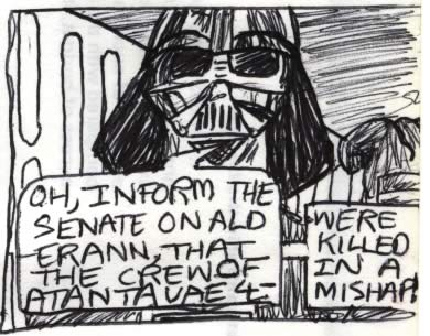 Darth Vader comic image. Star Wars comic drawing detail