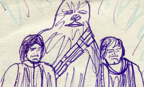 luke, chewie and han in the throne room. Star Wars comic page detail image