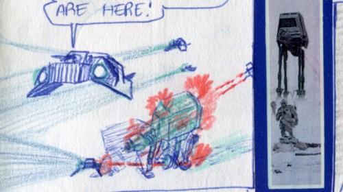 Snowspeeder Blue Squadron attacks the AT-ATs