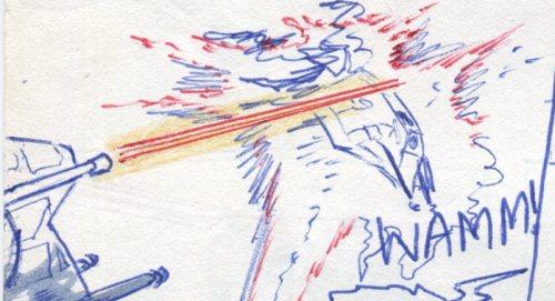 The AT-At Walker blasts Luke Sywalker's Snowspeeder