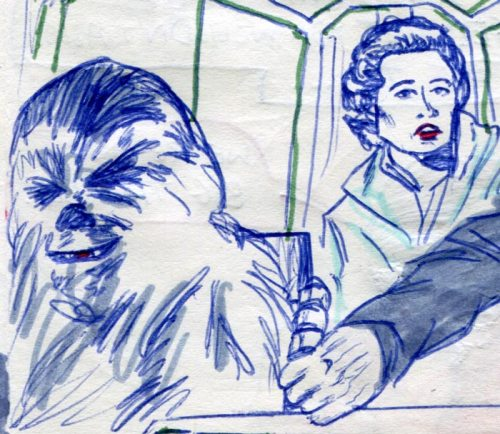 grinning chewbacca star was comic page detail