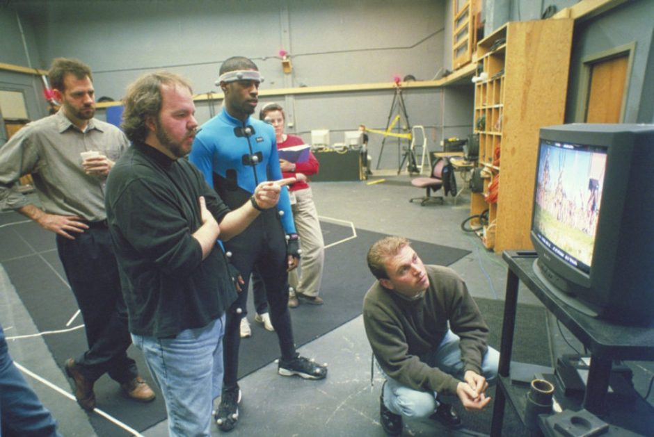 Rob Coleman and Ahmed Best on the mo-cap stage for The Phantom Menace.