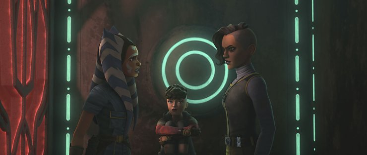 Ahsoka, Trace, and Raffa attempt to escape from the Pyke Syndicate compound
