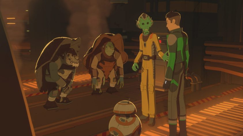 Two Chilidae with Kaz and Neeku in Star Wars Resistance.