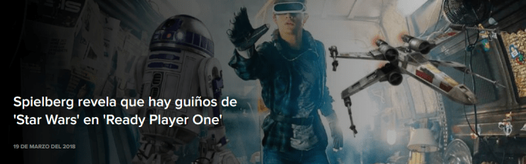 Spielberg revela que hay guiños de 'Star Wars' en 'Ready Player One' 1