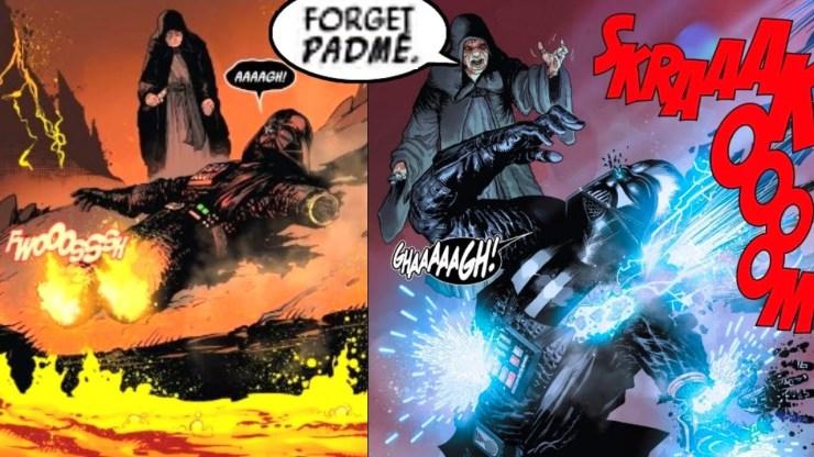 Darth Vader burns alive on Mustafar, Sidious chokes him (Canon)