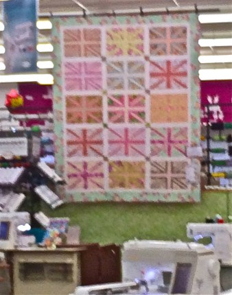 Union Jack Quilt Hanging in Mary Jo's