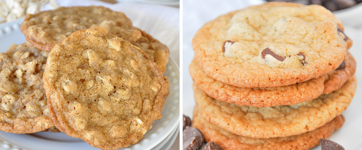 OLD FASHIONED OATMEAL COOKIES & HOMEMADE CHOCOLATE CHIP COOKIES