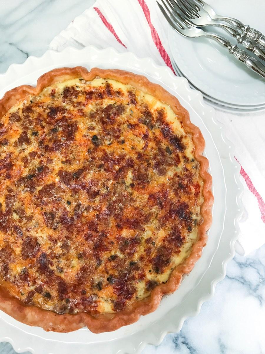 Sausage-Cheddar Mushroom Quiche