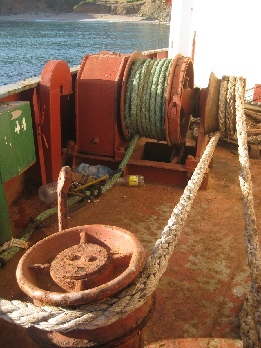 Aft on the port side mooring winch with a routine mooring