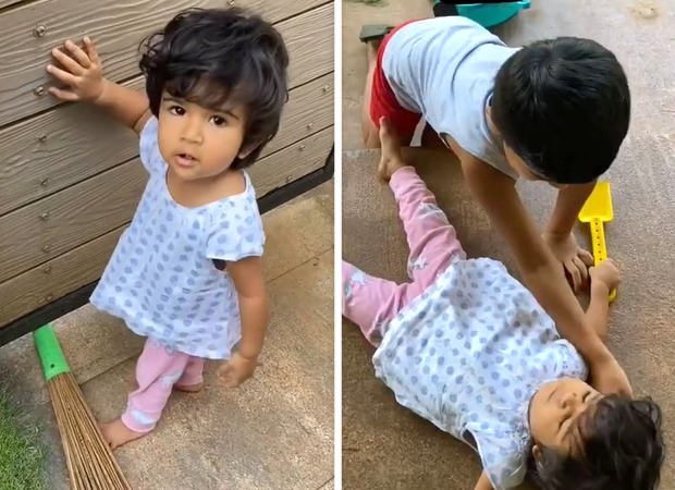 Sameera Reddy's kids are a riot as they start Diwali cleaning; watch