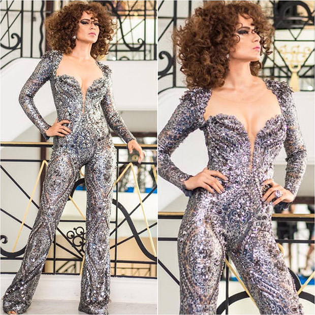Kangana Ranaut in a beaded jumpsuit at Cannes 2018