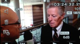 SBN News Director Steve Lubetkin, left, interviewing former NJ Gov. Jim Florio for NJSpotlight.com.