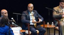Newark Mayor Ras Baraka makes a point during Town Hall meeting at Newark's NJPAC February 11.