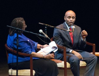 Baye Adofo-Wilson, Newark's director of housing and economic development, discusses the city's strengths with Town Hall moderator Marcia Wilson Brown, associate dean for program development in the School of Public Affairs and Administration at Rutgers-Newark.