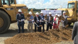 Officials of NFI and QPSI join Lt. Gov. Kim Guadagno at groundbreaking for new specialty packaging warehouse in Florence Township, NJ (Jake Kozmor Photo/StateBroadcastNews.com. Used by permission)