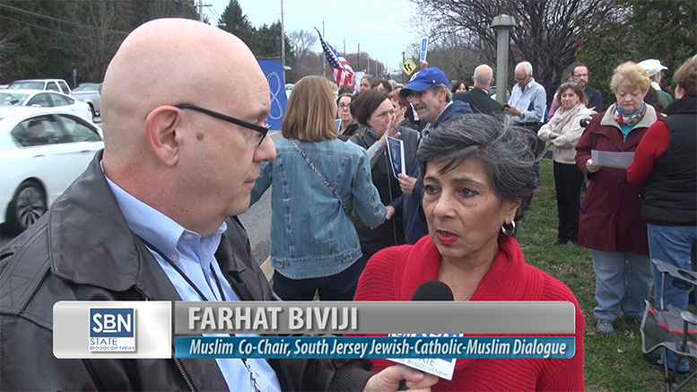 SBN News Director Steve Lubetkin interviews Farhat Biviji, Muslim co-chair of the South Jersey Catholic-Jewish-Muslim dialogue, at the pro-love rally held at the Katz JCC in Cherry Hill on Feb. 28. The JCC was one of 30 Jewish facilities that received bomb threats earlier this week.