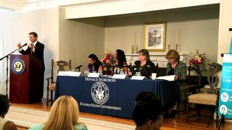 NJ Rep. Donald Norcross (D-1) introduces the first panel at his Women in the Workforce Summit, at the Haddon Fortnightly, Haddonfield, NJ. From left: Analilia Mejia, Executive Director, NJ Working Families; Loretta Winters, President, Gloucester County NAACP; Sally Goodson, National Board member and Former President, American Association of University Women; and Ann Twomey, President, Health Professionals and Allied Employees, AFT/AFL-CIO (Steve Lubetkin photo/StateBroadcastNews.com)