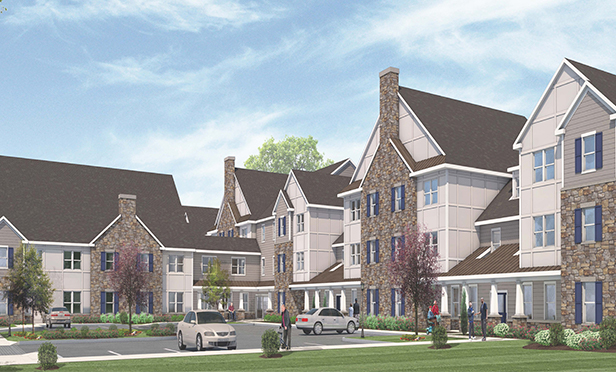 Rendering of the Commons at Springdale, a novel community to house senior citizens and developmentally disabled adults, sponsored by the Jewish Federation of Southern New Jersey and developed by Pennrose Properties, in Cherry Hill, NJ