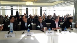 "Speakers at the Center City Proprietors Association ""Meet the Developers"" panel on March 27, 2019 were (from left): Anuj Khosla, managing partner, Khosla Properties; Charles B. Norman, development manager, National Real Estate Development; Richard Olaya, principal, Olaya Design Studio; David Schultz, president, DAS Architects; and Shalimar Thomas, executive director, North Broad Renaissance (Steve Lubetkin photo/State Broadcast News)"