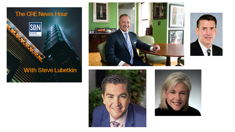 Guests on this edition of the CRE News Hour are, clockwise from top center: Dan Palmier of UC Funds; John Sebree of Marcus & Millichap; Julie Chase of Streetsense; and Michael Carter of SRS Detroit;
