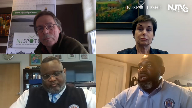 Screen capture from NJ Spotlight's second virtual video roundtable on education, produced by State Broadcast News, features a panel discussion moderated by NJ Spotlight founding editor and education reporter John Mooney, upper left; panelists were (clockwise from upper right): Dr. Linda P. Eno, Assistant Commissioner, Division of Academics and Performance New Jersey Department of Education; AbdulSaleem Hasan, Assistant Commissioner, Field Services, New Jersey Department of Education; and Dr. Lamont O. Repollet, Commissioner, New Jersey Department of Education