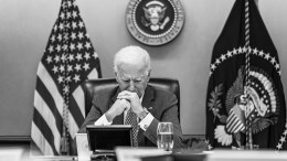 026-P20210219AS-0986-2 President Joe Biden listens during a G7 Leaders' virtual meeting Friday, Feb. 19, 2021, in the White House Situation Room. (Official White House Photo by Adam Schultz)
