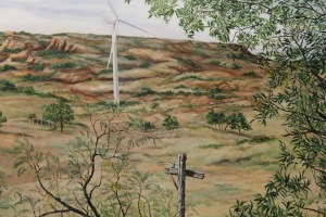 close up of mural showing truck in distance