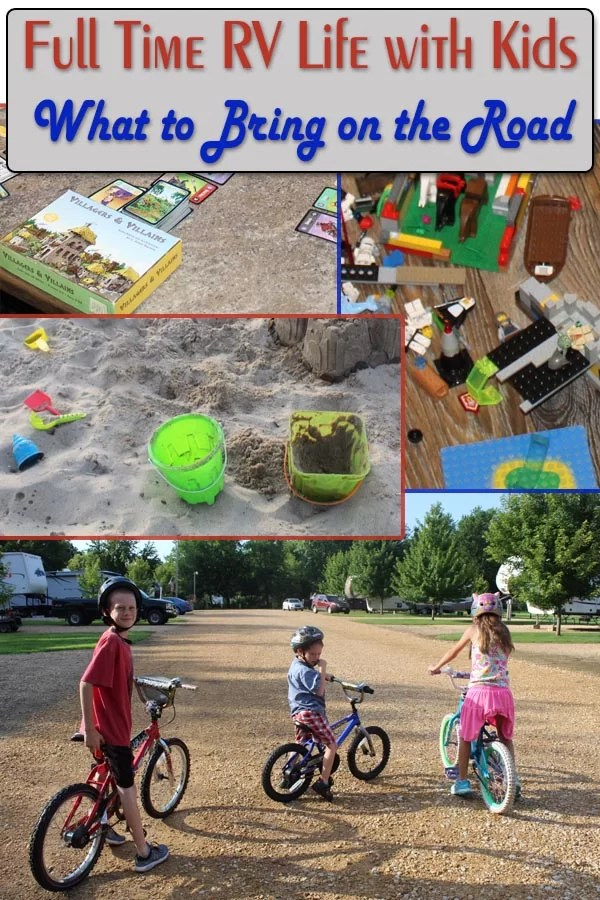 Full Time RV life with kids what to bring on the road pin