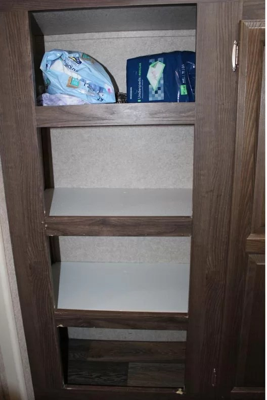 Finished bookshelves in need of touchup