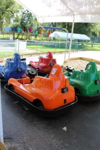 Four colorful bumper cars