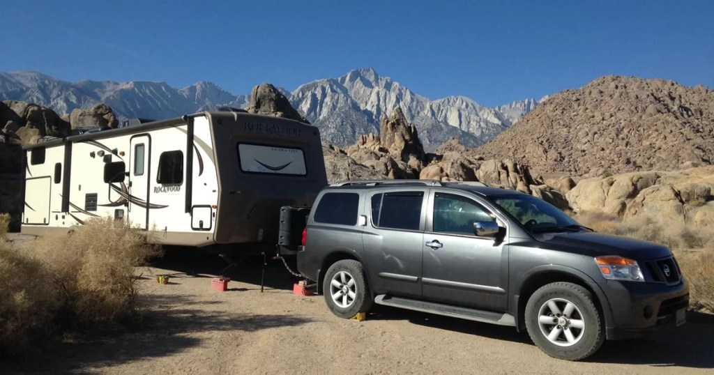 An RV at a campsite.