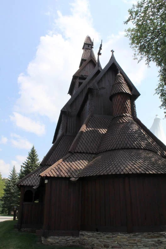 The stave church is impressive.