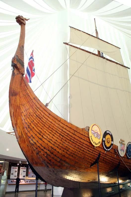 It's surreal to see a viking ship inside the museum.