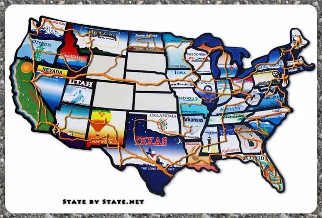 Image of a map with an epic road trip mapped out.
