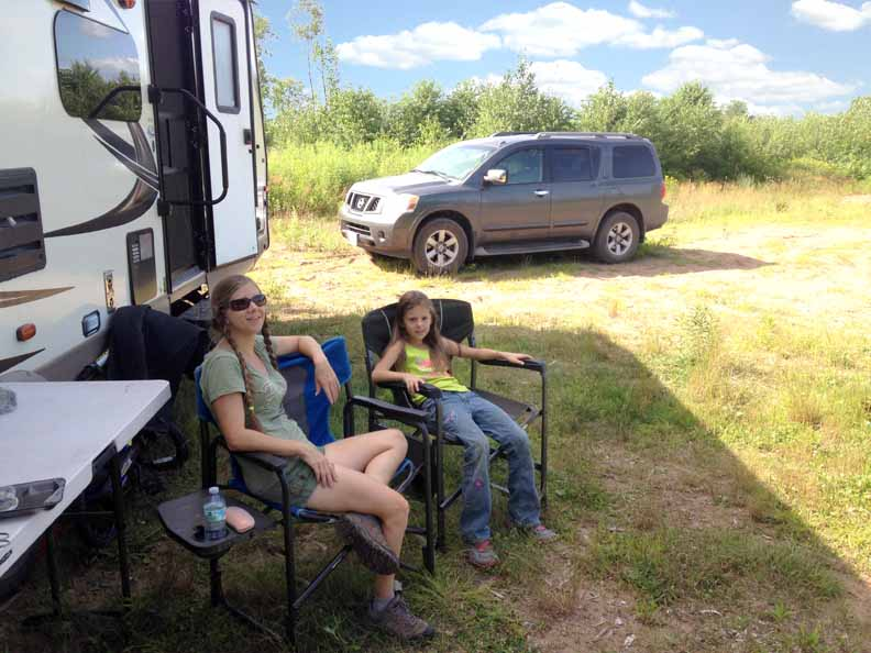 Sarah and Journey enjoying the day at our free dry camping site.