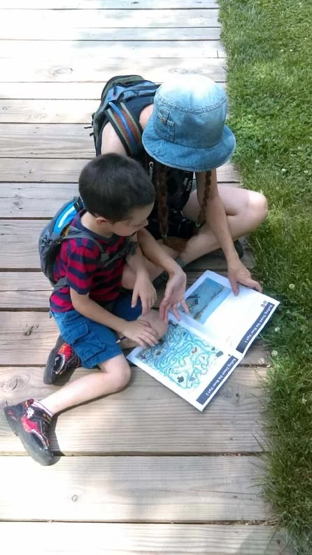 Trip and Sarah working on his Junior Ranger book.