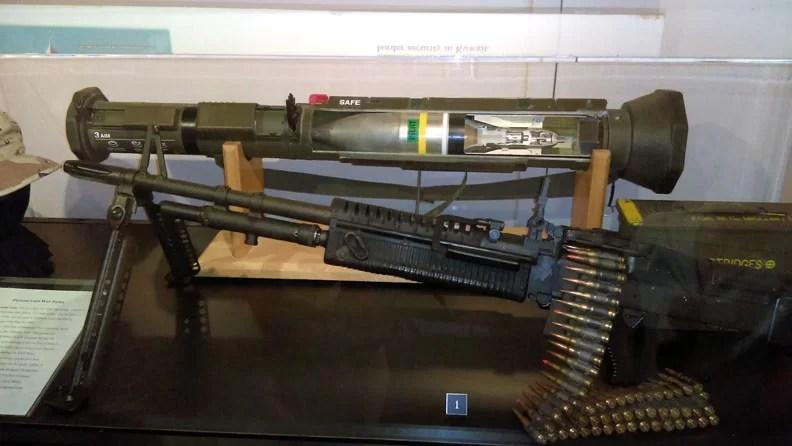 A machine gun and rocket launcher.