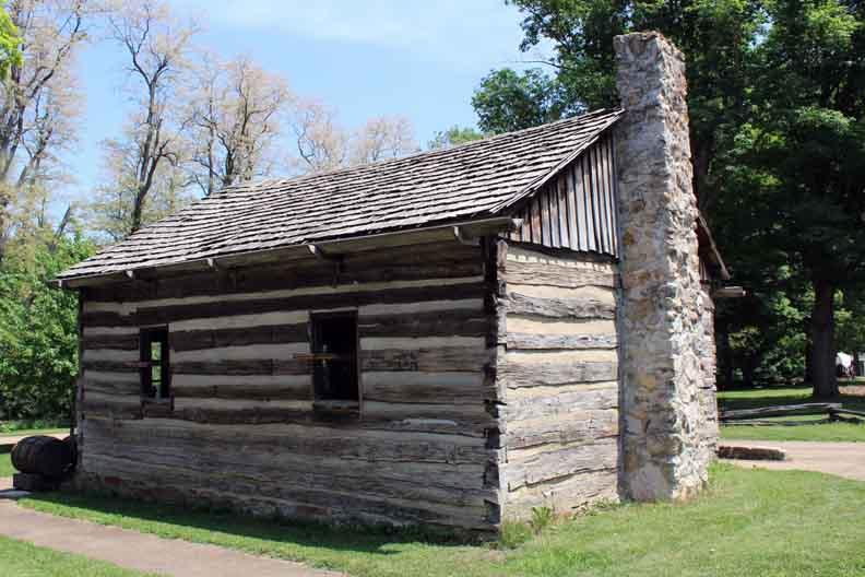An old log cabin.