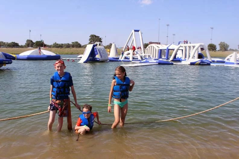 Kids in front of an epic water park