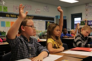Students in Casi Adkinson's third grade class at West Defuniak Elementary participate in a math lesson.