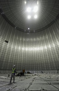 Photo shows the inside of the world's largest liquefied natural gas tank in Yokohama near Tokyo, unveiled by Tokyo Gas Co. on March 13, 2013.