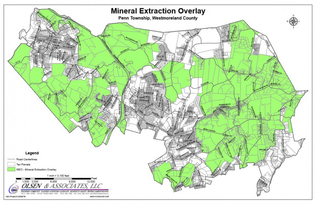 Penn Township's Mineral Extraction Overlay district allows drilling on much of the township.