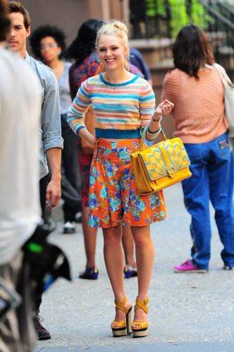 """NEW YORK, NY - SEPTEMBER 11: Actress AnnaSophia Robb is seen on the set of """"The Carrie Diaries"""" on September 11, 2013 in New York City. (Photo by Raymond Hall/FilmMagic)"""