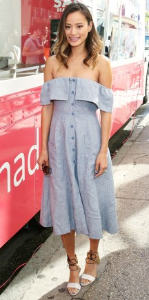 NEW YORK, NY - JUNE 17: Actress Jamie Chung attends the Sally Beauty Mobile Nail Studio Tour at Bryant Park on June 17, 2015 in New York City. (Photo by Monica Schipper/FilmMagic)