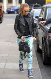Cara Delevingne seen leaving her London home this morning wearing pineapple trousers. Pictured: Cara Delevingne Ref: SPL749451 020514 Picture by: TGB / Splash News Splash News and Pictures Los Angeles: 310-821-2666 New York: 212-619-2666 London: 870-934-2666 photodesk@splashnews.com