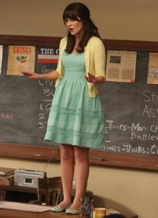 "NEW GIRL: Jess (Zooey Deschanel) gets a shot at a new teaching job in the ""Winston's Birthday"" episode of NEW GIRL airing Tuesday, May 7 (9:00-9:30 PM ET/PT) on FOX. ©2013 Fox Broadcasting Co. Cr: Patrick McElhenney/FOX"